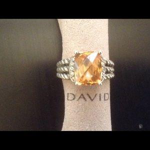 DY 10x8mm Morganite Diamonds Ring Sz 8